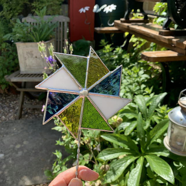 Stained  Glass Windmill Stake Large - Plant Pot Decoration - Green Blue White