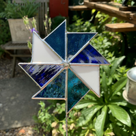Stained  Glass Windmill Stake Large - Plant Pot Decoration - Blue White