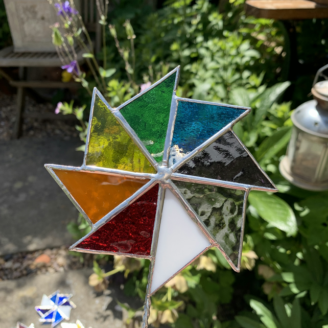 Stained  Glass Windmill Stake Large - Plant Pot Decoration - Rainbow