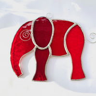 Stained Glass Large Elephant Suncatcher - Handmade Hanging Decoration - Red