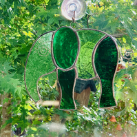 Stained Glass Large Elephant Suncatcher - Handmade Hanging Decoration - Green