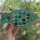 Stained Glass Fishy Suncatcher - Handmade Window  Decoration- Turq and Aqua