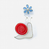 Stained Glass Snail Suncatcher - Handmade Window Decoration - White and Red