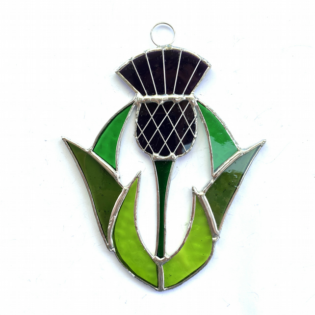 Stained Glass Thistle - Handmade Hanging Window Decoration