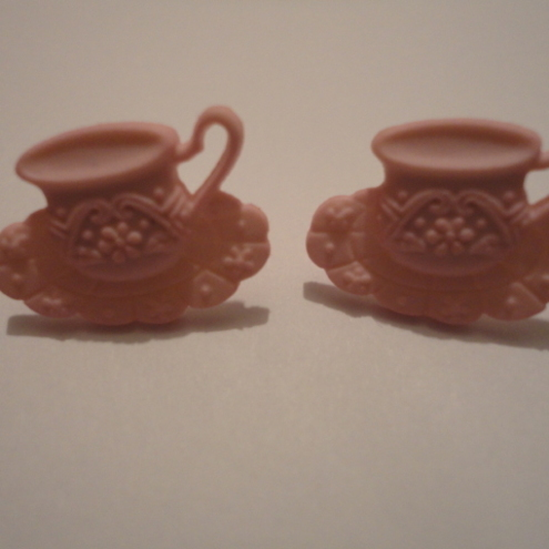 Pink Teacup Earrings