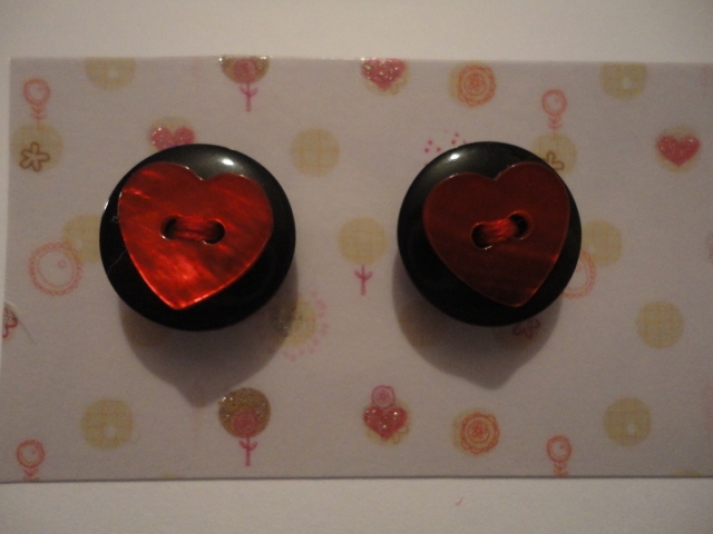 black circular red heart earrings