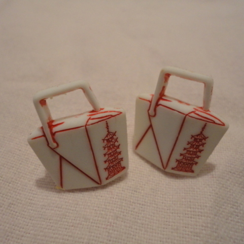 Chinese Take away Carton Ear Rings
