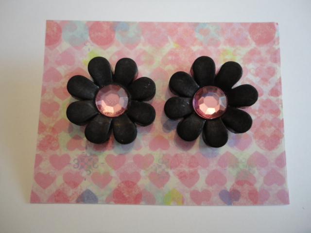 Black Daisy Earrings Pink Centre