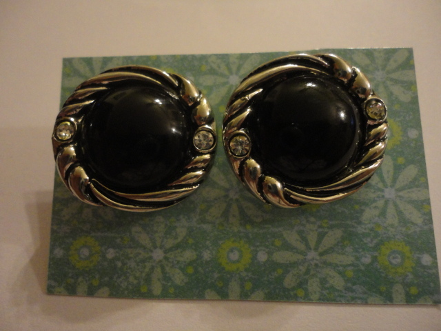Large Black And Silver Earrings