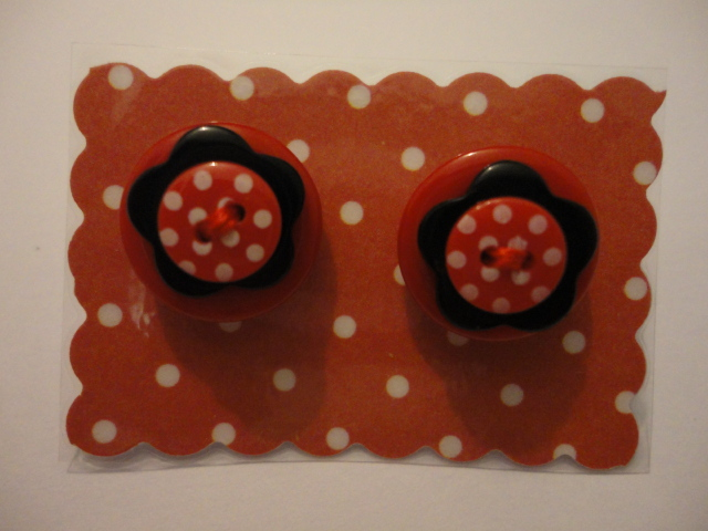 Red and Black Flower Earrings