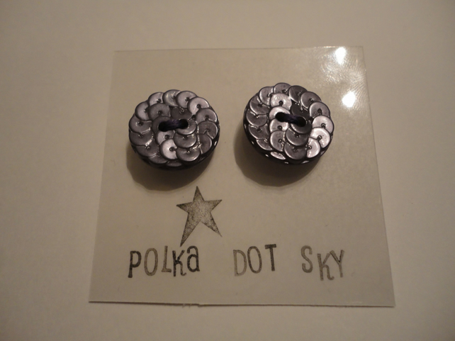 Purple Textured Button Earrings