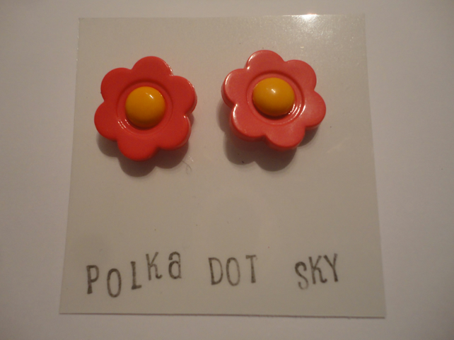 Pink and Orange Flower Earrings