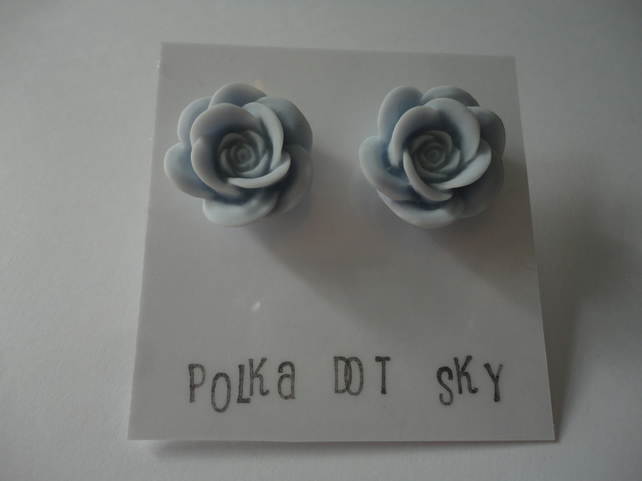 Light Blue Rose Earrings