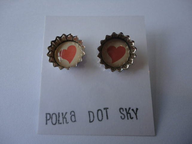 Heart Bottle Top Earrings