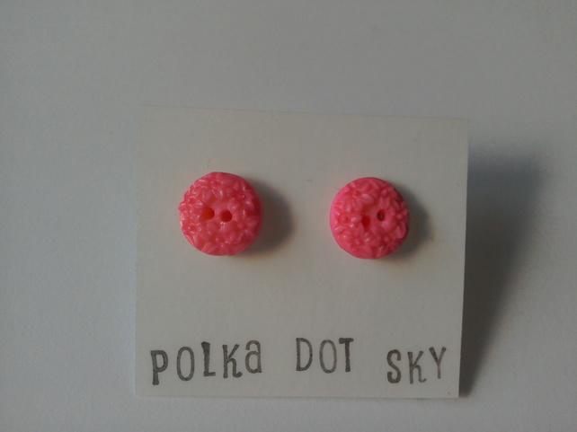 Pink Flower Patterned Earrings