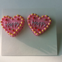 Pink Happy Heart Earrings