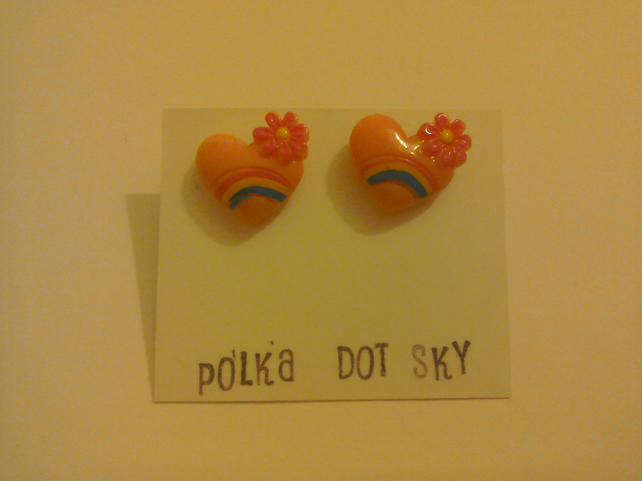 Pale pink rainbow heart earrings