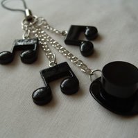 Top Hat and Music Note Charm Loop