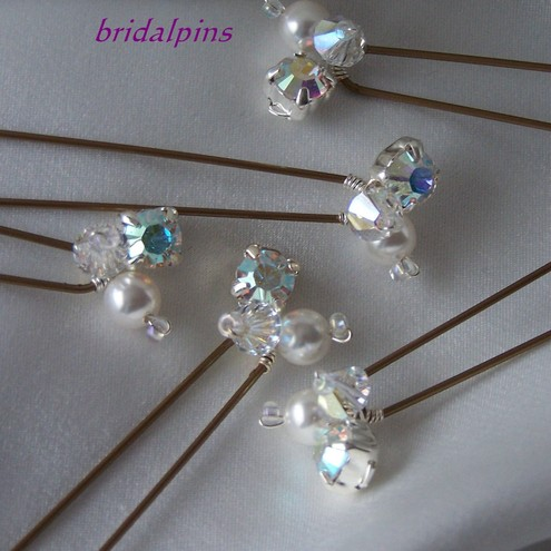 crystal pearl diamante hairpins
