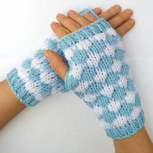 Blue and white fingerless gloves