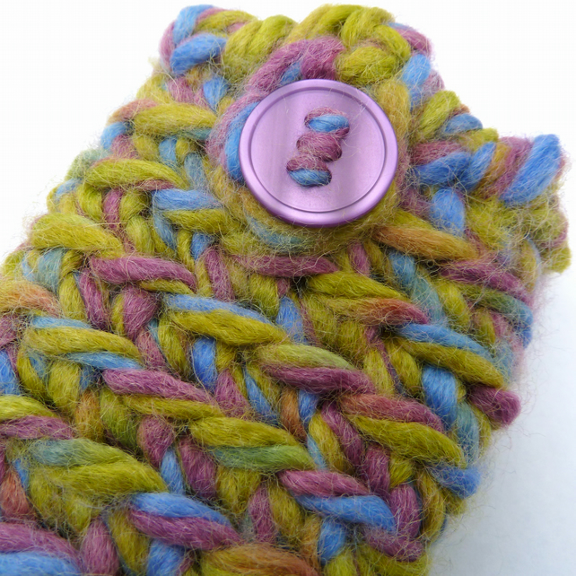 Chunky crochet phone case in green, blue and purple