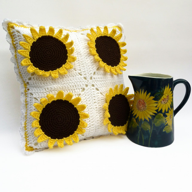 Sunflower crochet cushion - Folksy
