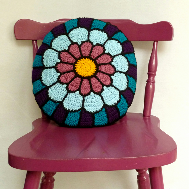 Stained Glass Crochet Cushion Folksy
