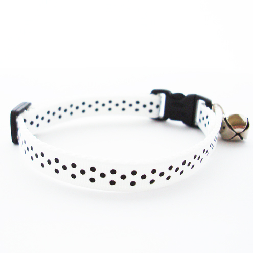Handmade Kitten and Cat Safety Collar - Black and White Polka Dot