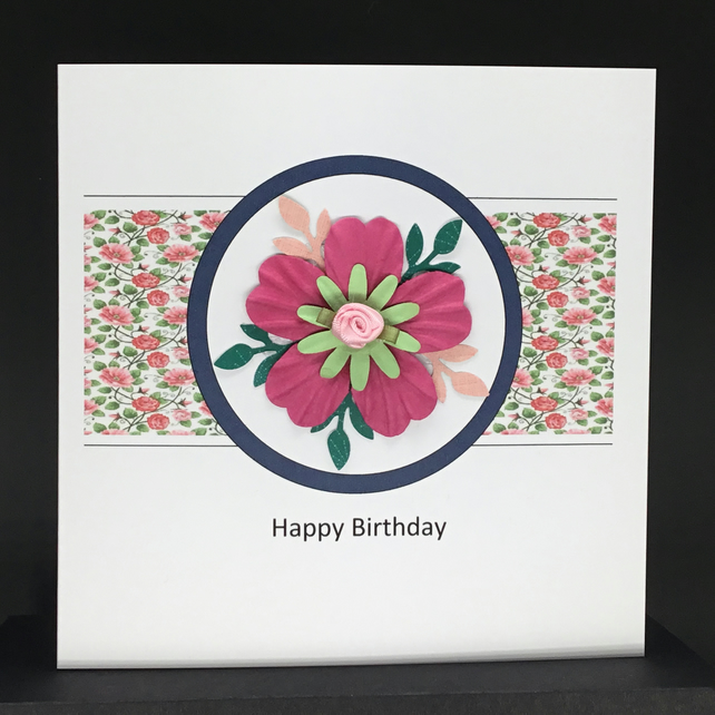 Handmade birthday card with floral arrangement