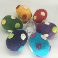 Set of 6 hand felted Easter egg decorations