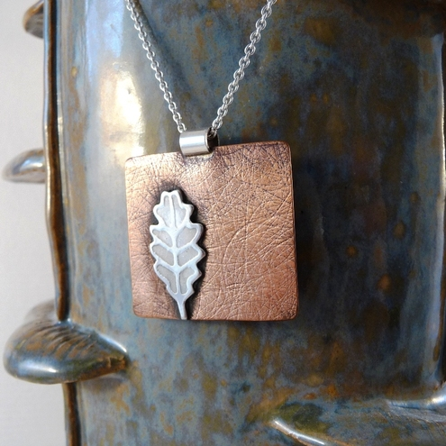 Silver and copper leaf pendant