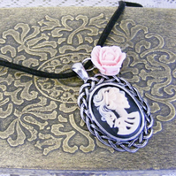 Goth chic pink zombie cameo necklace