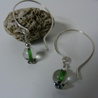 Sterling silver & glass bead drop earrings