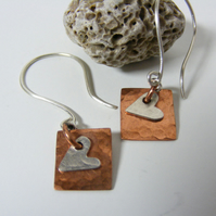 Sterling silver & Copper drop earrings