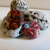 Handmade fabric covered button earrings