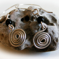 Sterling silver spiral & bead earrings