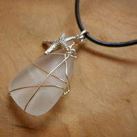 Sea glass & Leather necklace