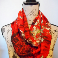 Hand-made red floral infinity scarf
