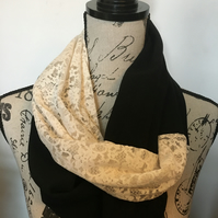 Handmade black with cream lace infinity scarf