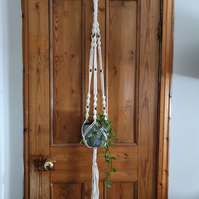 Chunky macramé plant hanger with wooden beads