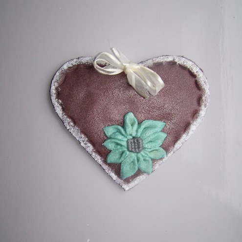 Heart with flower salt dough