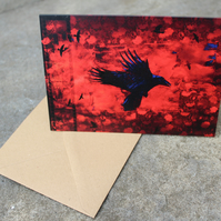 Raven Bird Greetings Card