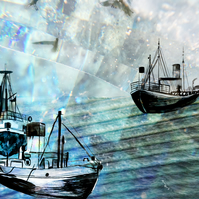 Fishing Ships and Sea - A3 Giclee Print