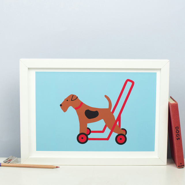 Dog on Wheels Print