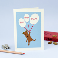 Personalised Blue Birthday Card