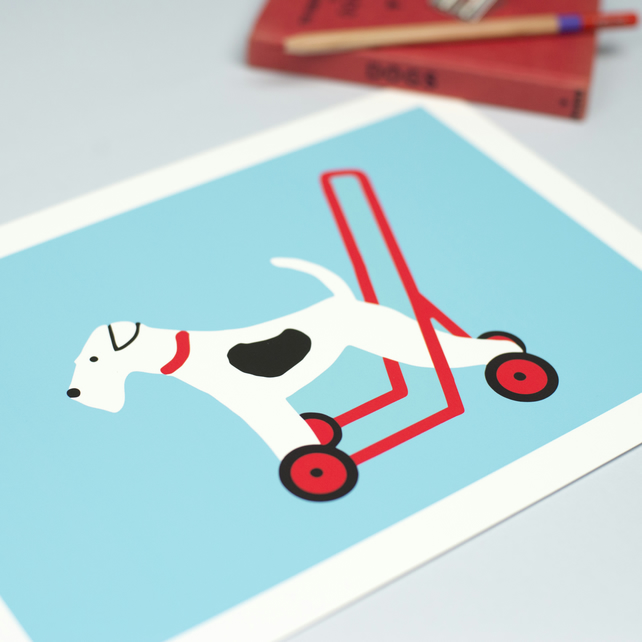 Fox Terrier on Wheels Print