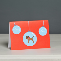Border Terrier Xmas Card