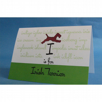 I is for Irish Terrier Greeting Card