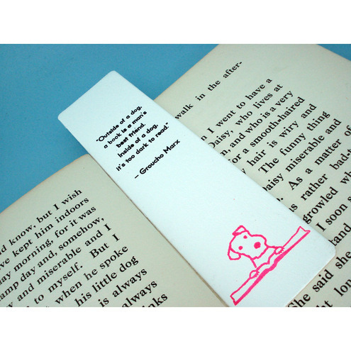 Reading Terrier Bookmark with Groucho Marx Quote