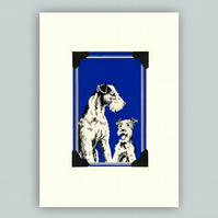 Fox Terrier and Puppy Greeting Card